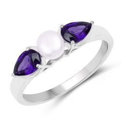 1.44 Carat Genuine Amethyst and Pearl .925 Sterling Silver Ring