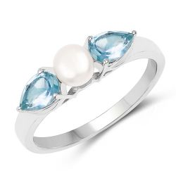 1.56 Carat Genuine Blue Topaz and Pearl .925 Sterling Silver Ring