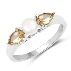 1.44 Carat Genuine Citrine and Pearl .925 Sterling Silver Ring