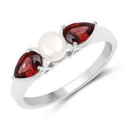 1.54 Carat Genuine Garnet and Pearl .925 Sterling Silver Ring