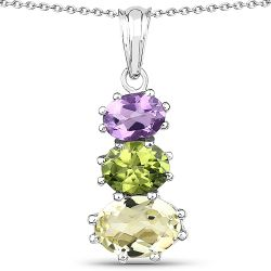6.00 Carat Genuine Lemon Topaz, Peridot and Amethyst .925 Sterling Silver Pendant