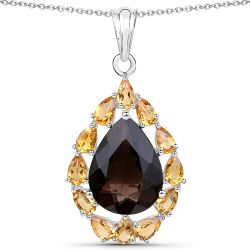 9.44 Carat Genuine Smoky Quartz and Citrine .925 Sterling Silver Pendant