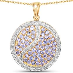 14K Yellow Gold Plated 2.44 Carat Genuine Tanzanite .925 Sterling Silver Pendant