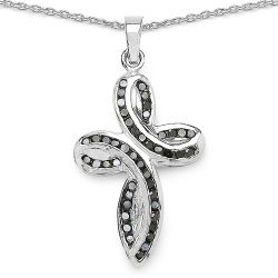 0.49 Carat Genuine Black Diamond .925 Sterling Silver Pendant