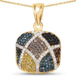 14K Yellow Gold Plated 1.03 Carat Genuine Multi Diamond .925 Sterling Silver Pendant