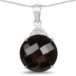 18.31 Carat Genuine Smoky Quartz & White Diamond .925 Sterling Silver Pendant