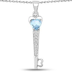 2.47 Carat Genuine Blue Topaz and White Diamond .925 Sterling Silver Pendant