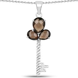 4.45 Carat Genuine Smoky Quartz .925 Sterling Silver Pendant