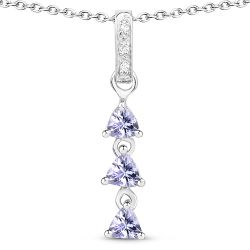 0.71 Carat Genuine Tanzanite and White Topaz .925 Sterling Silver Pendant