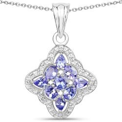 1.47 Carat Genuine Tanzanite .925 Sterling Silver Pendant