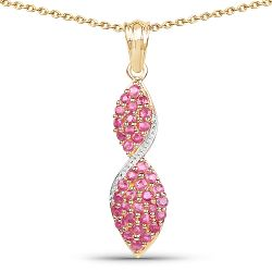 14K Yellow Gold Plated 1.74 Carat Genuine Ruby .925 Sterling Silver Pendant