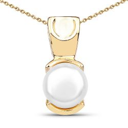 14K Yellow Gold Plated 1.50 Carat Genuine Pearl .925 Sterling Silver Pendant