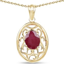 14K Yellow Gold Plated 3.10 Carat Glass Filled Ruby .925 Sterling Silver Pendant