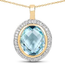 14K Yellow Gold Plated 8.96 Carat Genuine Blue Topaz & White Topaz .925 Sterling Silver Pendant