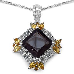 """6.27 Carat Genuine Smoky Quartz, Citrine & White Topaz .925 Sterling Silver Pendant"""
