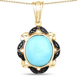 14K Yellow Gold Plated 7.33 Carat Genuine Turquoise and Black Spinel .925 Sterling Silver Pendant