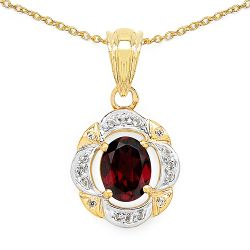 14K Yellow Gold Plated 2.38 Carat Genuine Rhodolite & White Topaz .925 Streling Silver Pendant