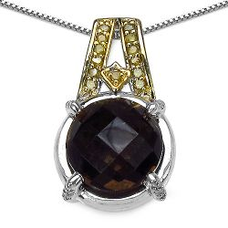 """3.16 Carat Genuine Smoky Quartz, Yellow Diamond & White Diamond .925 Sterling Silver Pendant"""