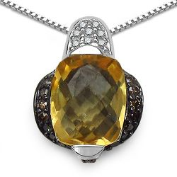 2.91 Carat Genuine Citrine, Champagne Diamond & White Diamond .925 Sterling Silver Pendant
