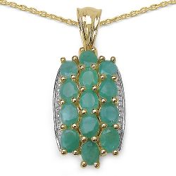 14K Yellow Gold Plated 2.60 Carat Genuine Emerald .925 Streling Silver Pendant
