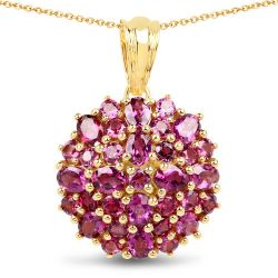 14K Yellow Gold Plated 4.24 Carat Genuine Rhodolite .925 Sterling Silver Pendant