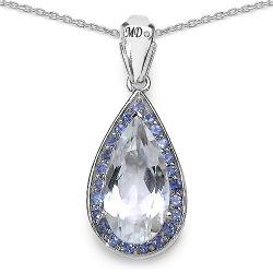 6.04 Carat Genuine Crystal Quartz, Tanzanite & White Diamond .925 Sterling Silver Pendant