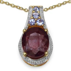 14K Yellow Gold Plated 5.56 Carat Genuine Glass Filled Ruby & Tanzanite .925 Sterling Silver Pendant