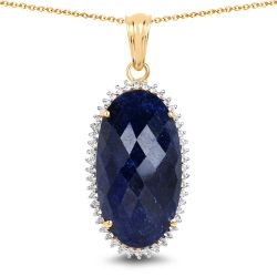 14K Yellow Gold Plated 22.78 Carat Dyed Sapphire and White Topaz .925 Sterling Silver Pendant