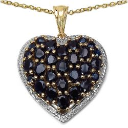 14K Yellow Gold Plated 5.48 Carat Genuine Sapphire .925 Streling Silver Pendant