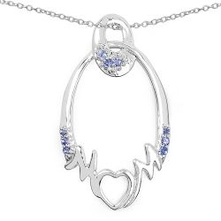 0.18 Carat Genuine Tanzanite .925 Sterling Silver Pendant
