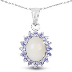 2.26 Carat Genuine Opal and Tanzanite .925 Sterling Silver Pendant