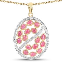 14K Yellow Gold Plated 3.20 Carat Genuine Ruby .925 Sterling Silver Pendant
