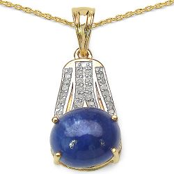 14K Yellow Gold Plated 7.32 Carat Genuine Tanzanite & White Diamond .925 Streling Silver Pendant