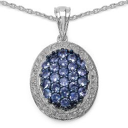 2.20 Carat Tanzanite and White Cubic Zirconia Pendant in Sterling Silver