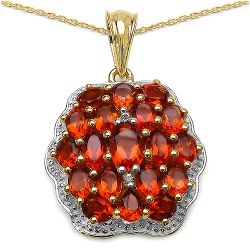 14K Yellow Gold Plated 3.83 Carat Genuine Citrine & White Topaz .925 Streling Silver Pendant