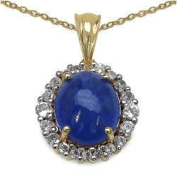 14K Yellow Gold Plated 8.05 Carat Genuine Tanzanite & White Topaz .925 Streling Silver Pendant