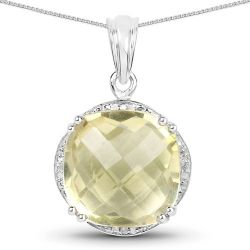 13.05 Carat Genuine Lemon Quartz and White Diamond .925 Sterling Silver Pendant