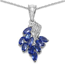 1.40 Carat Genuine Tanzanite .925 Sterling Silver Pendant
