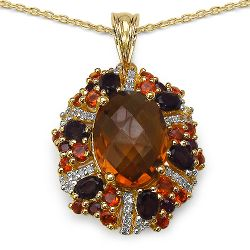 14K Yellow Gold Plated 7.70 Carat Genuine Multi Stone .925 Streling Silver Pendant