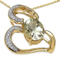 14K Yellow Gold Plated 2.66 Carat Genuine Amethyst & White Topaz .925 Streling Silver Pendant