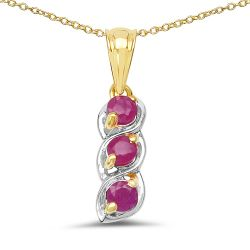 14K Yellow Gold Plated 0.90 Carat Genuine Ruby .925 Sterling Silver Pendant