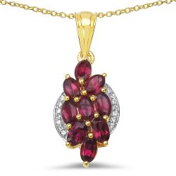 14K Yellow Gold Plated 2.77 Carat Genuine Rhodolite & White Topaz .925 Sterling Silver Pendant