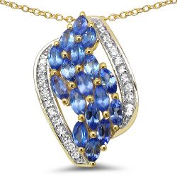 14K Yellow Gold Plated 1.41 Carat Genuine Tanzanite & White Topaz .925 Sterling Silver Pendant