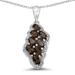 1.84 Carat Genuine Smoky Quartz .925 Sterling Silver Pendant