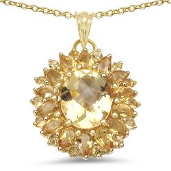 18K Yellow Gold Plated 7.59 Carat Genuine Citrine .925 Sterling Silver Pendant