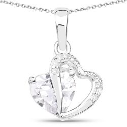 3.36 Carat Genuine White Cubic Zirconia .925 Sterling Silver Pendant