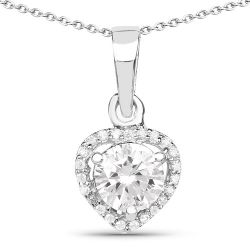 1.52 Carat Genuine White Cubic Zirconia .925 Sterling Silver Pendant