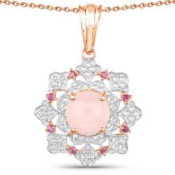 14K Rose Gold Plated 3.72 Carat Genuine Morganite, Rhodolite & White Topaz .925 Sterling Silver Pendant
