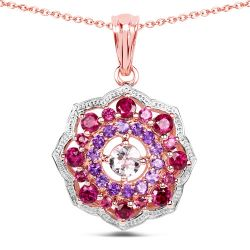 14K Rose Gold Plated 2.30 Carat Genuine Morganite, Rhodolite and Amethyst .925 Sterling Silver Pendant