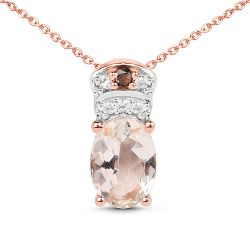 """18K Rose Gold Plated 0.75 Carat Genuine Morganite, Smoky Quartz and White Zircon .925 Sterling Silver Pendant"""